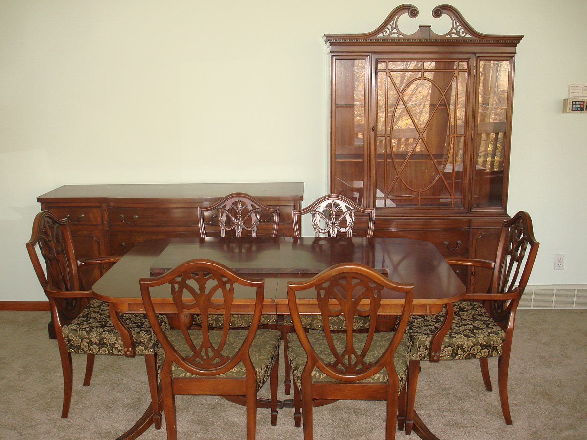 Duncan phyfe dining room set double pedestal table chairs for Dining room tables 1940s