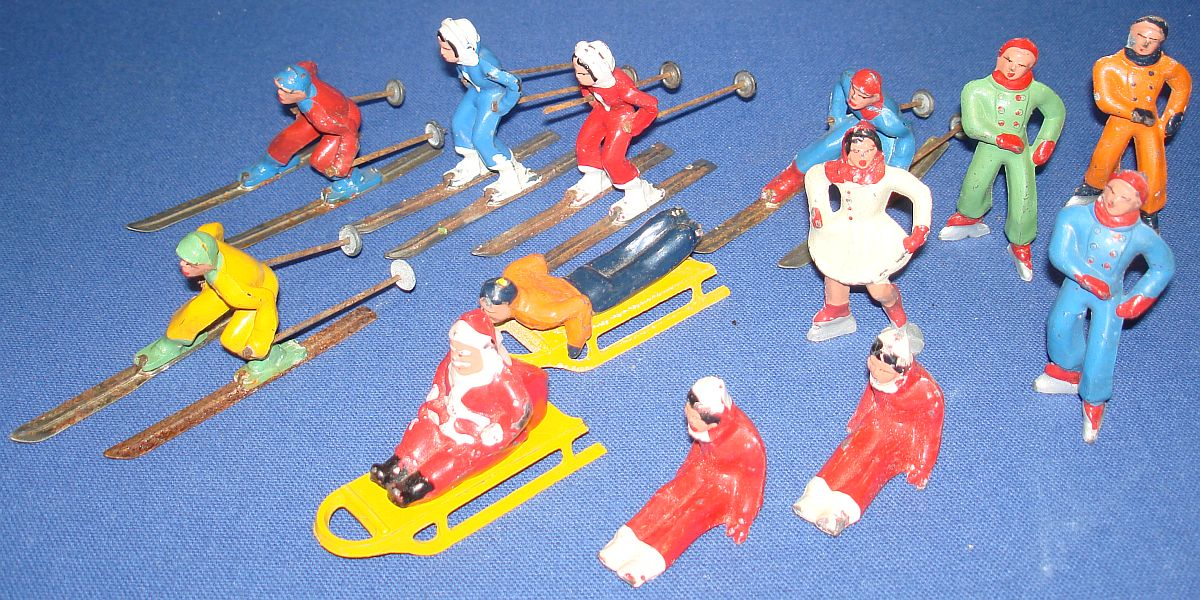 Vintage Barclay Dimestore Lead Figures Lot Skiers Skaters Sleds Santa Claus