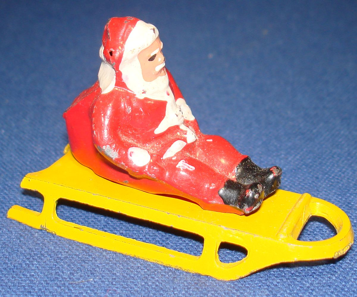 Vintage Barclay Dimestore Lead Figure Santa Claus With Sack Of Toys Yellow Sled