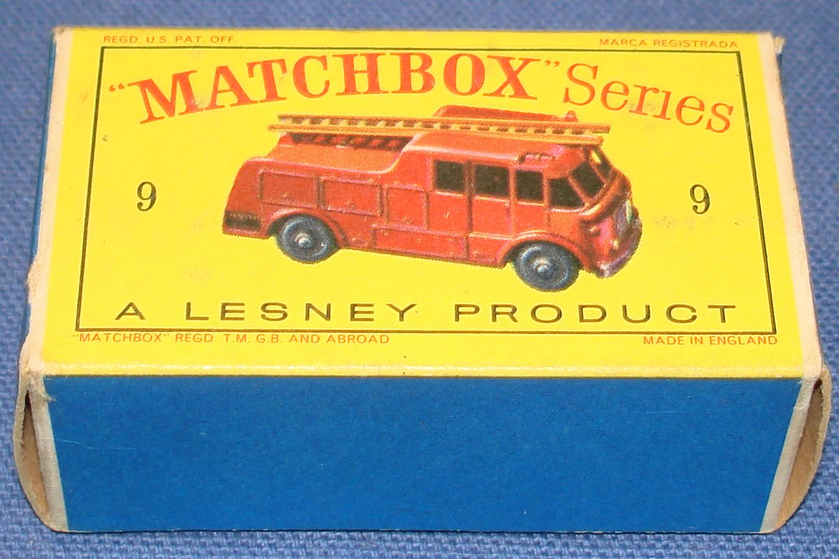 Vintage Matchbox Lesney Made In England Empty Box Fire Truck #9