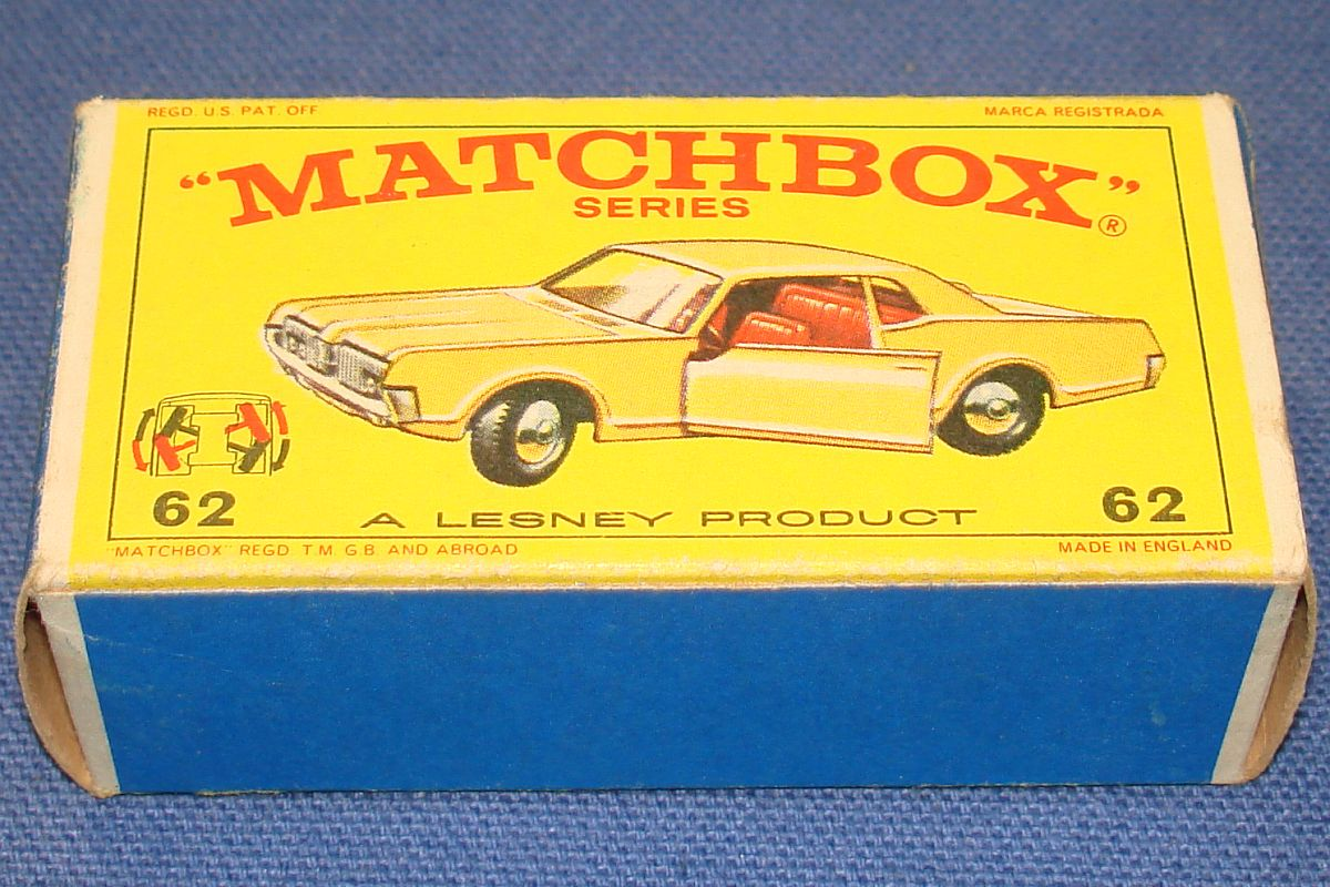 Vintage Matchbox Lesney Made In England Empty Box Mercury Cougar Car #62