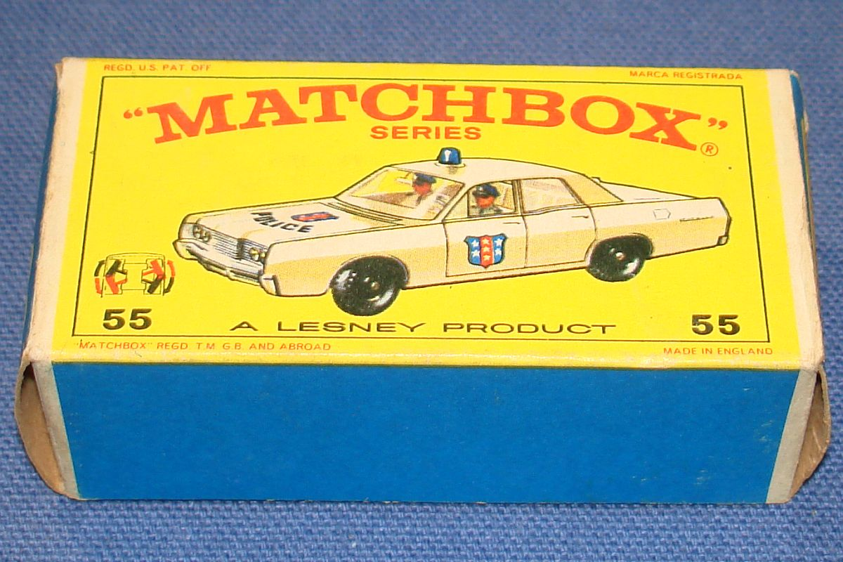 Vintage Matchbox Lesney Made In England Empty Box Police Car #55