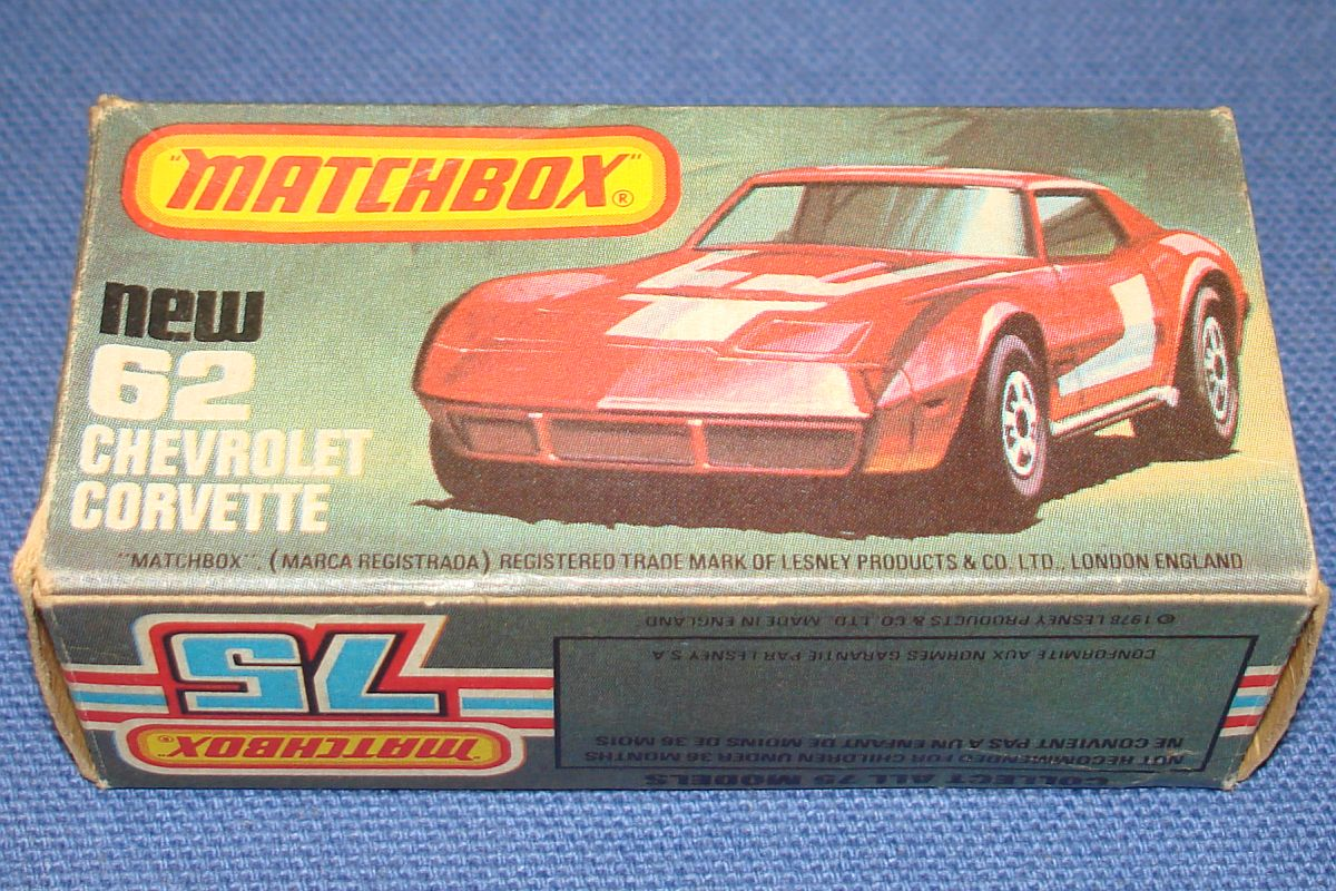 Vintage Matchbox Lesney Made In England Empty Box Chevrolet Corvette #62
