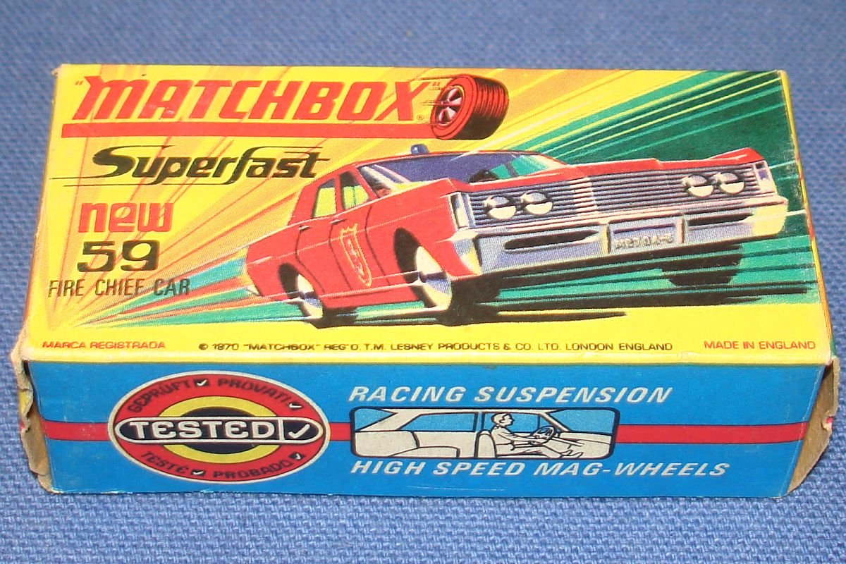 Vintage Matchbox Lesney Made In England Empty Box Superfast Mercury Fire Chief Car #59