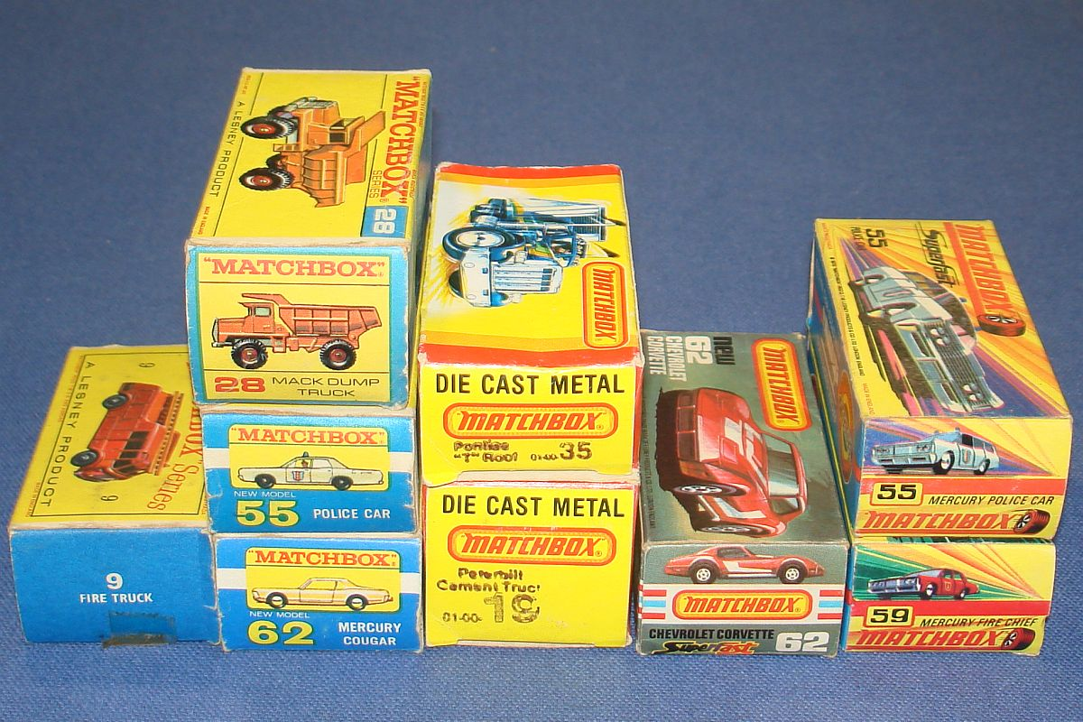 Vintage Matchbox Lesney Made In England Diecast Superfast Cars Trucks Empty Boxes Lot