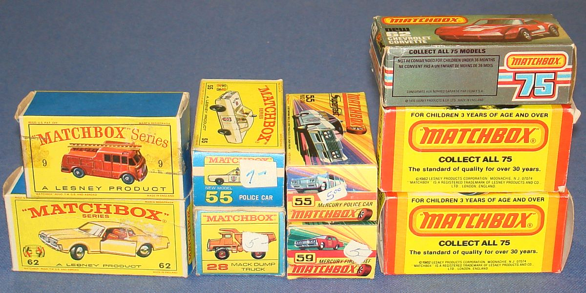 Vintage Matchbox Lesney Made In England Diecast Superfast Cars Trucks Empty Boxes Lot Issues