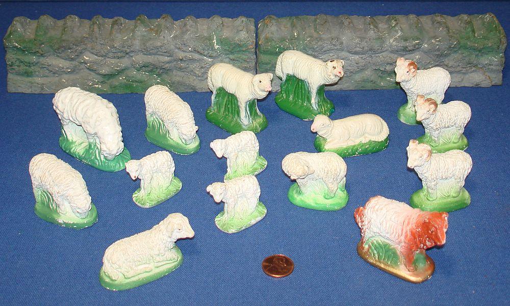 Vintage Made In Japan Chalkware Rams Ewes Sheep Dog