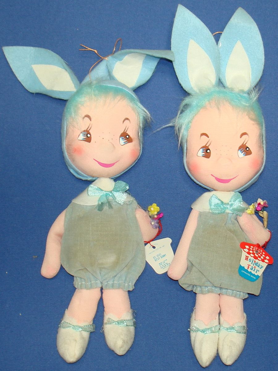 1967 Holiday Fair Made In Japan Bitsy Bunny Blue Easter Dolls Excelsior Cotton Paper Tags
