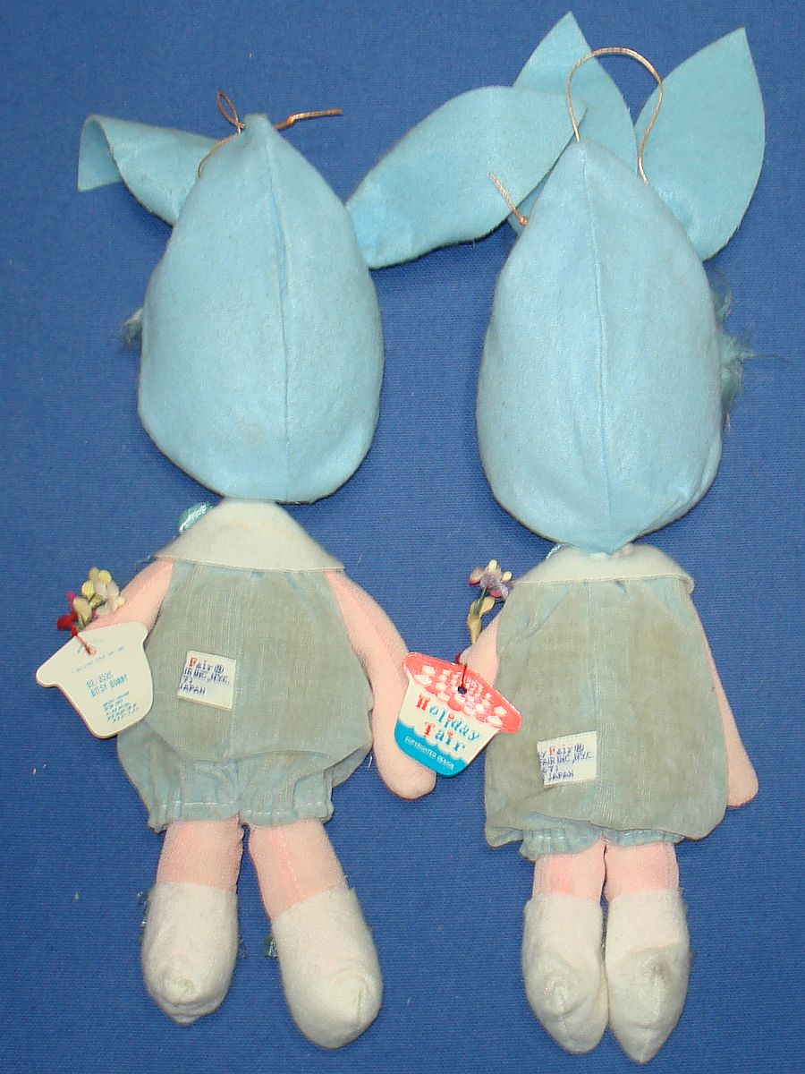 1967 Holiday Fair Made In Japan Bitsy Bunny Blue Easter Dolls Excelsior Cotton Paper Tags Labels