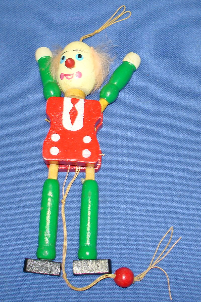 Vintage Toy Clown Jumping Jack Wooden Pull String Made In Japan Moves Arms & Legs
