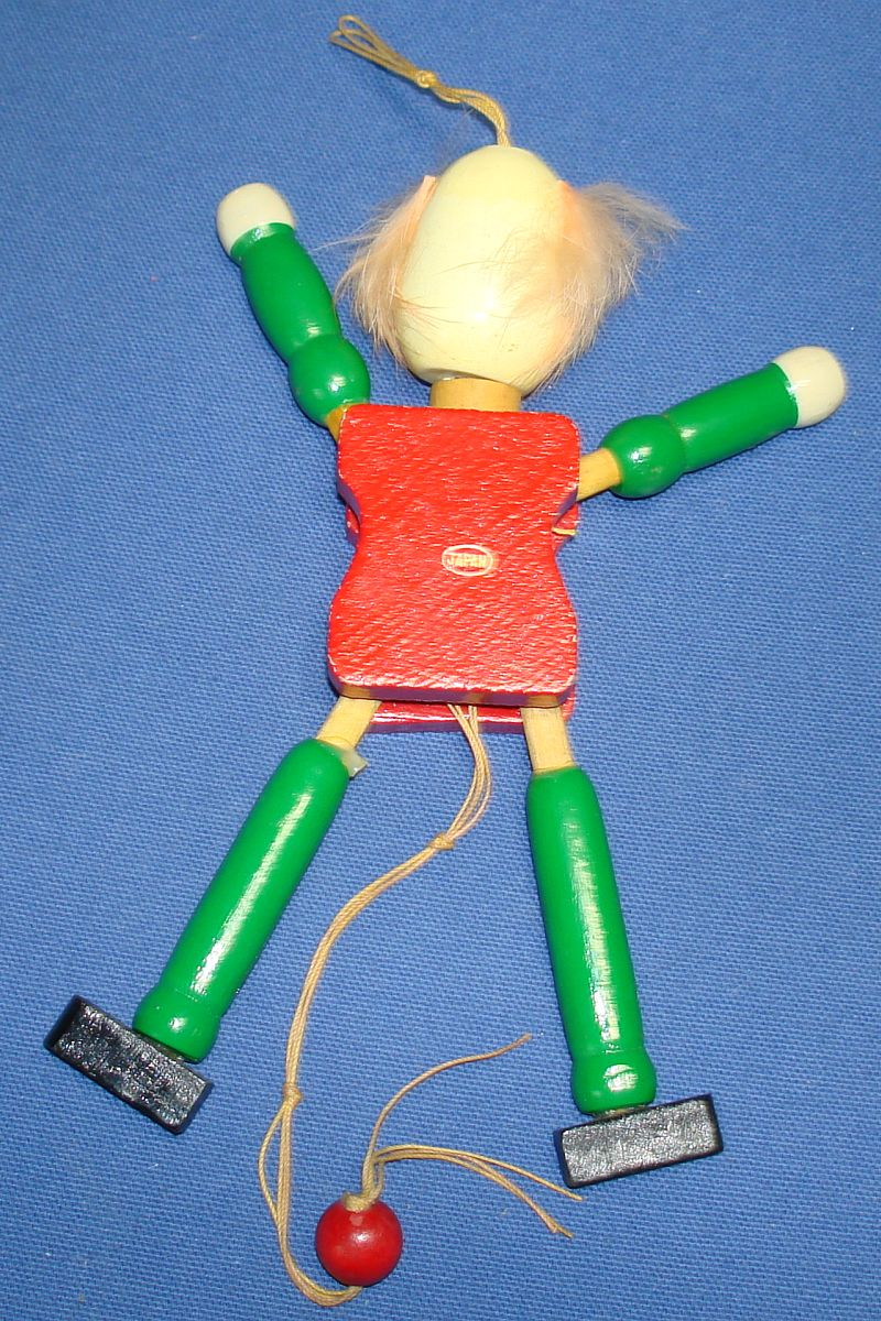 Vintage Toy Clown Jumping Jack Wooden Pull String Made In Japan Moves Arms & Legs Sticker