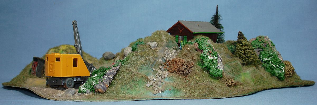 intage HO Gauge Mountain Kit Wiking Steam Shovel Quarry Site Building Trees Shrubs Profile