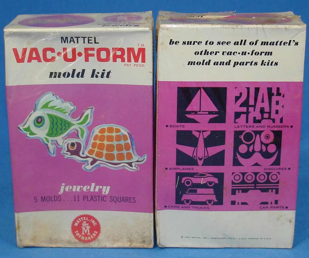 Vintage Mattel Vac-U-Form Jewelry Mold Kit #434 5 Molds 11 Plastic Squares Box