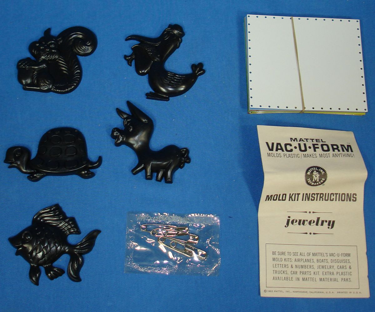 Vintage Mattel Vac-U-Form Jewelry Mold Kit #434 5 Molds 11 Plastic Squares Instructions