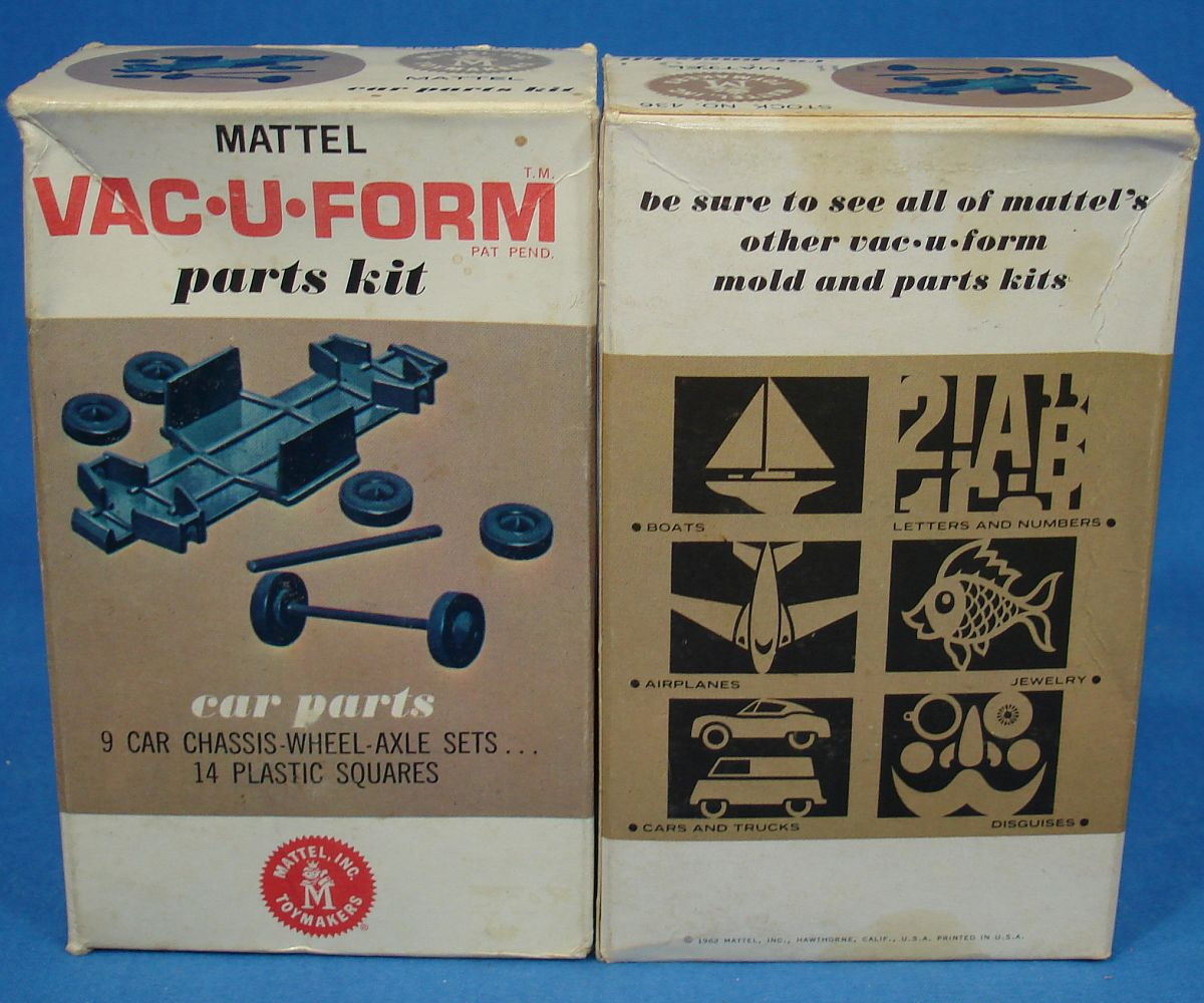 Vintage Mattel Vac-U-Form Cars Parts Mold Kit #436 9 Car Chassis - Wheels - Axle Sets Box