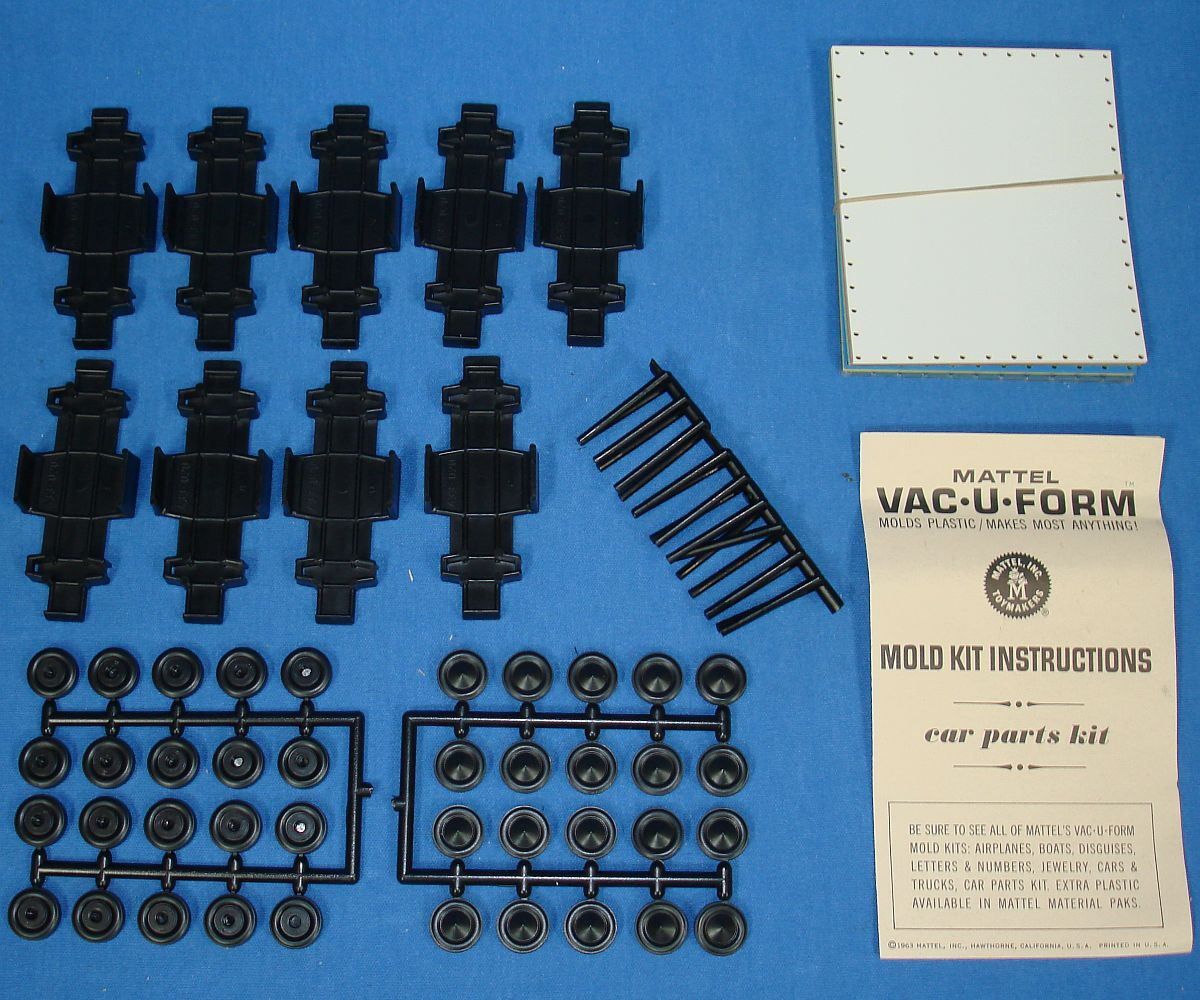 Vintage Mattel Vac-U-Form Cars Parts Mold Kit #436 9 Car Chassis - Wheels - Axle Sets Instructions