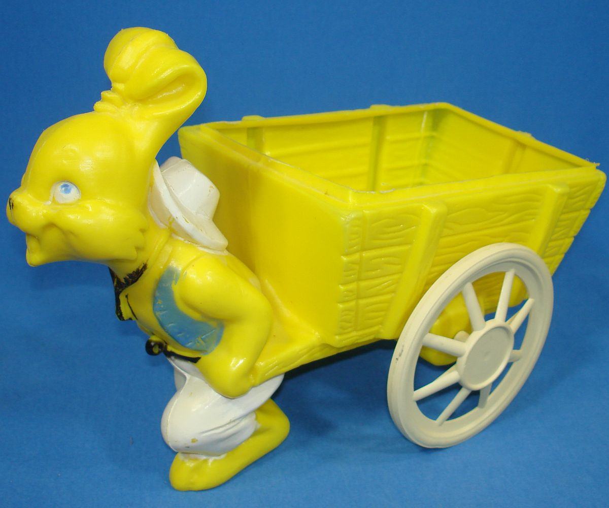 Vintage Bright Yellow Easter Bunny Rabbit Pulling Cart Wagon Basket
