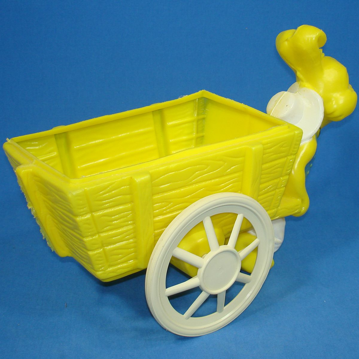 Vintage Bright Yellow Easter Bunny Rabbit Pulling Cart Wagon Basket Wheels
