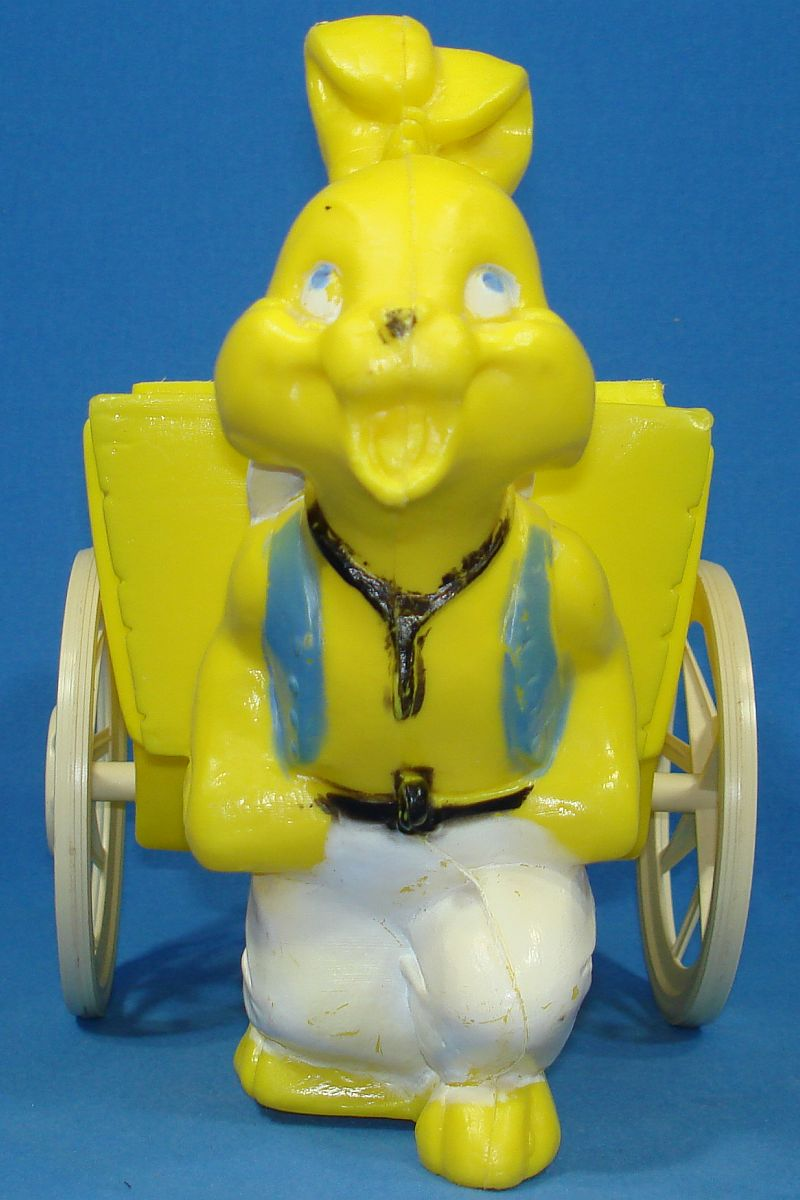 Vintage Bright Yellow Easter Bunny Rabbit Pulling Cart Wagon Basket Face