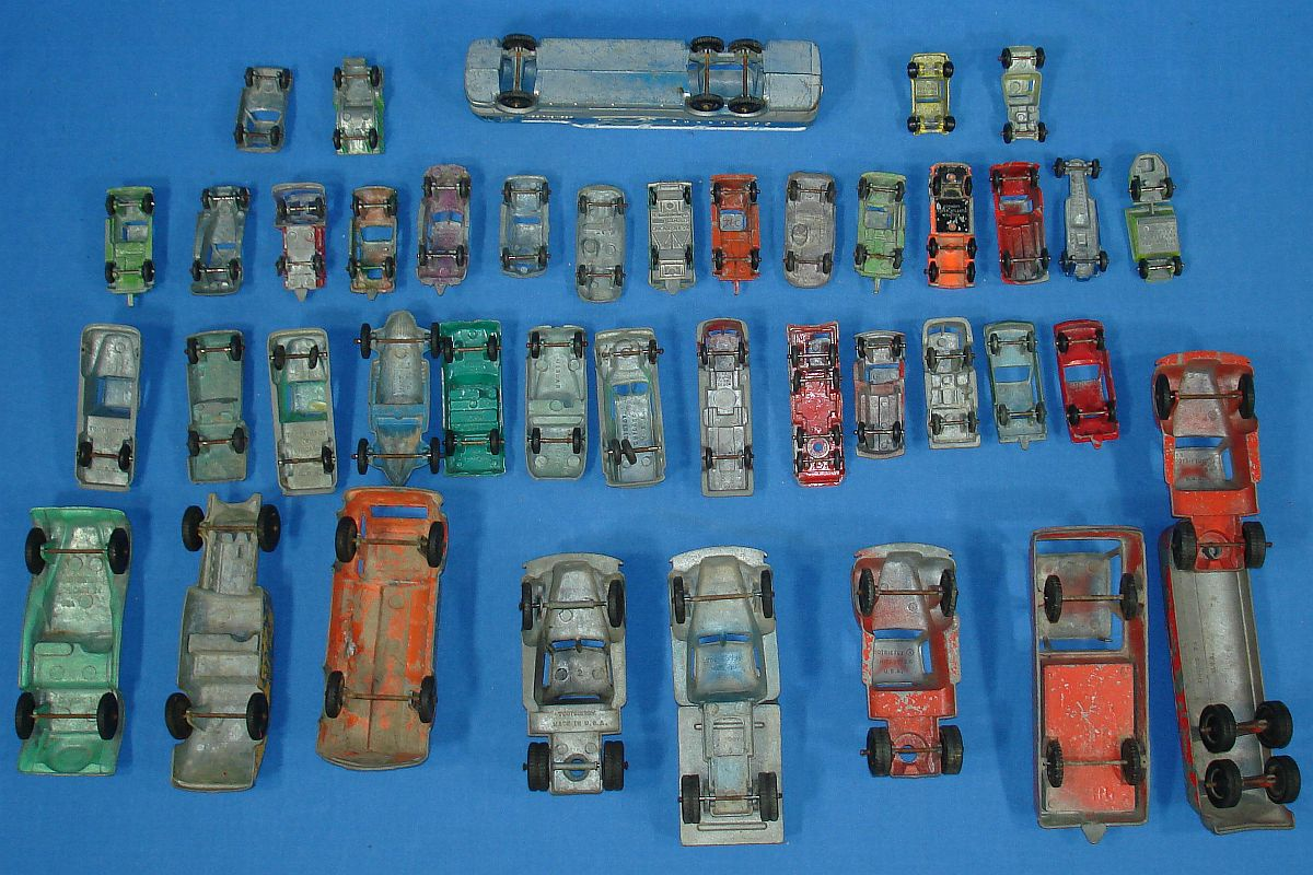 Vintage Tootsietoy Products 41 Unbreakable Die Cast Metal Cars Fire Trucks Semis Axles Wheels Tires