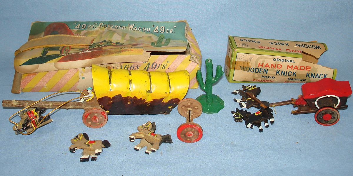 Vintage Made In Japan Wooden 49er Covered Wagon Horse Team Driver & Plastic Green Cactus