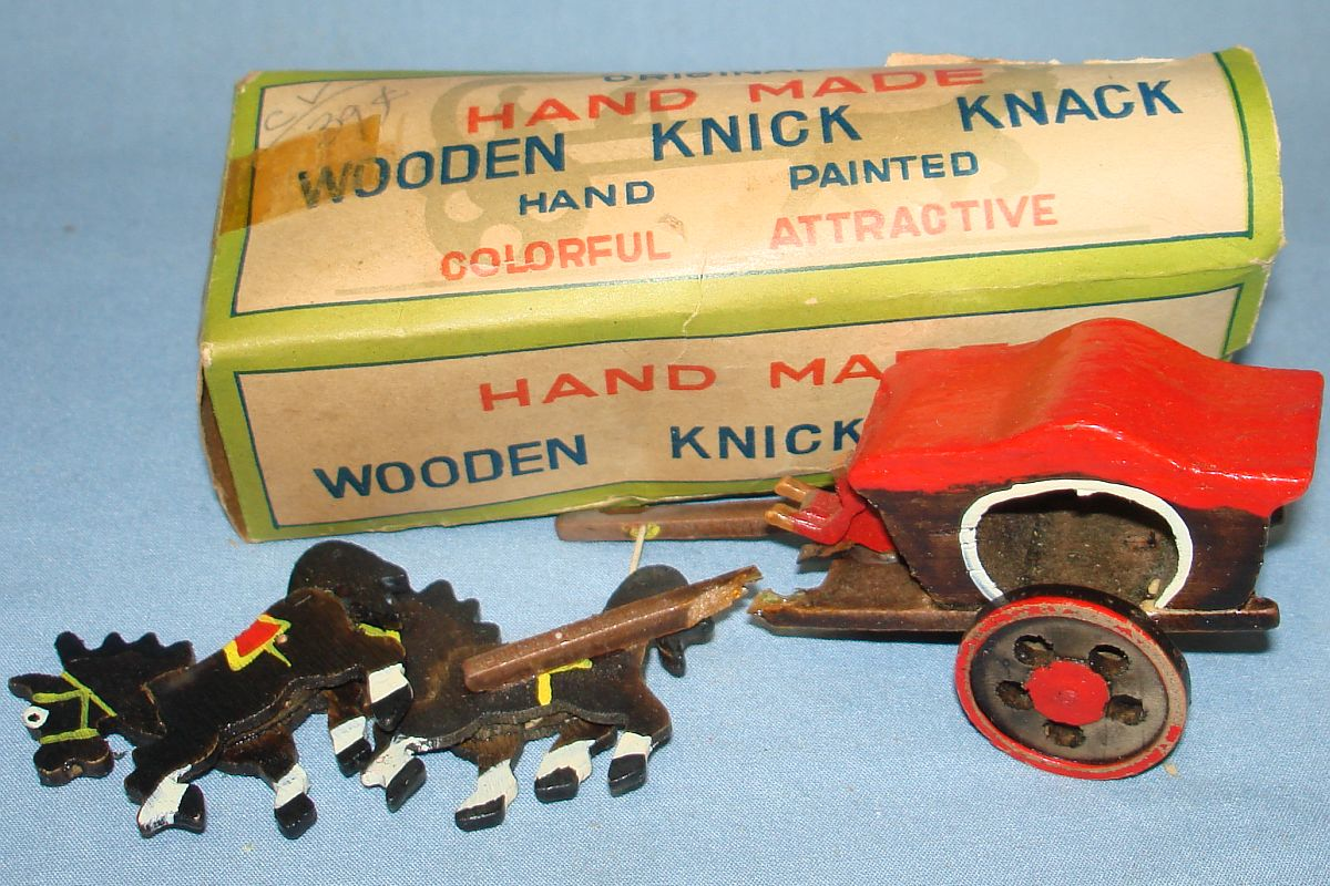 Vintage Made In Japan Wooden Covered Wagon Toy Lot