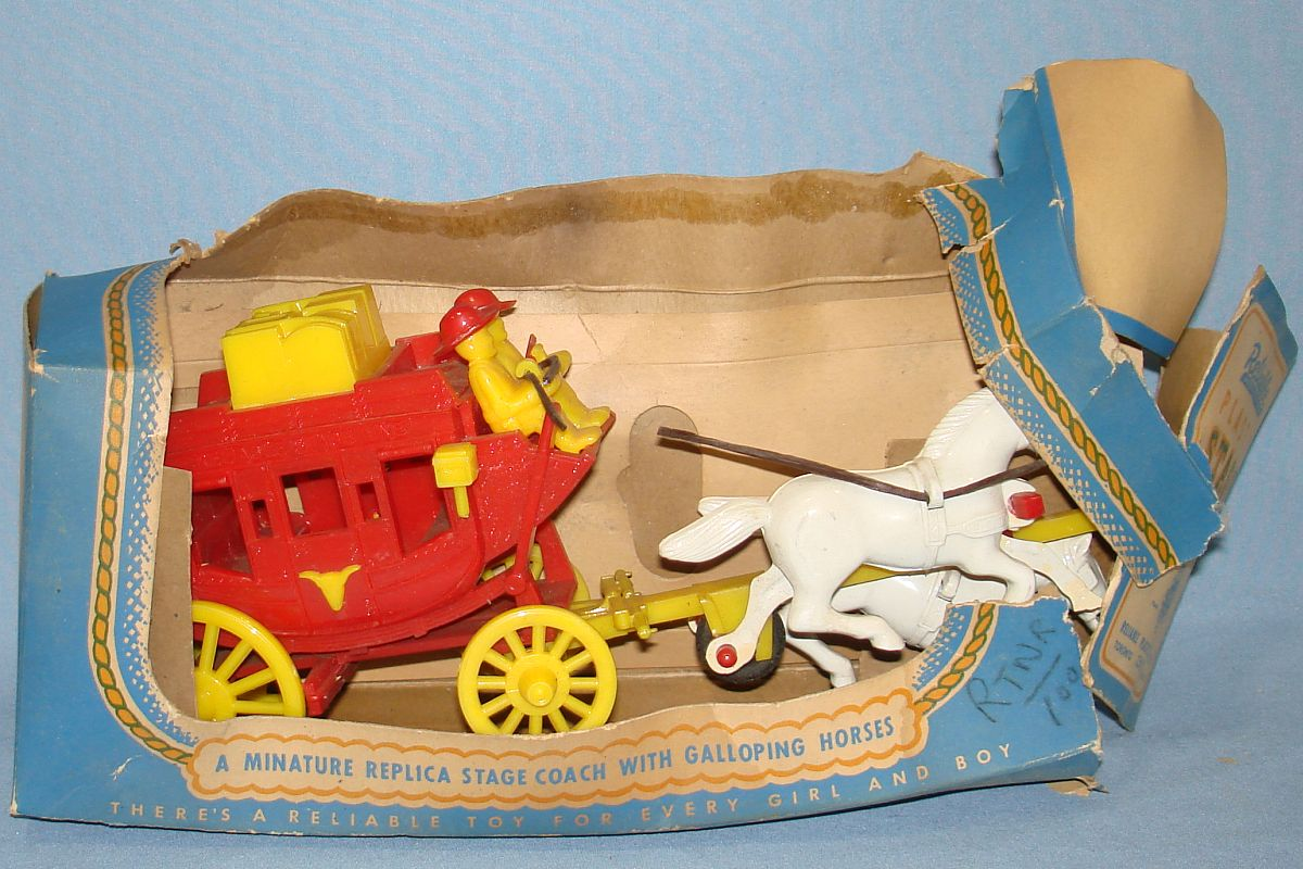 Vintage Reliable Plastic Miniature Replica Red Stage Coach White Plastic Horses Box #230/8