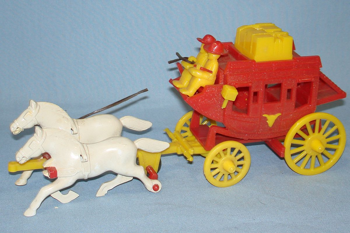 Vintage Reliable Plastic Miniature Replica Red Stage Coach #230/8 Yellow Drivers