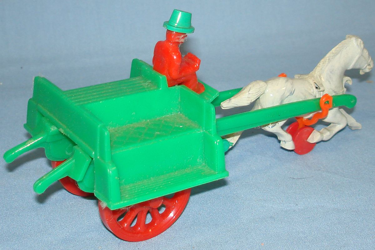 Vintage Hardy Jaunting Cart Plastic Action Toy #21 Red Driver Green Hat