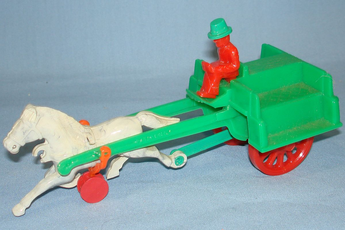 Vintage Hardy Jaunting Cart Plastic Action Toy #21 White Marbled Horse