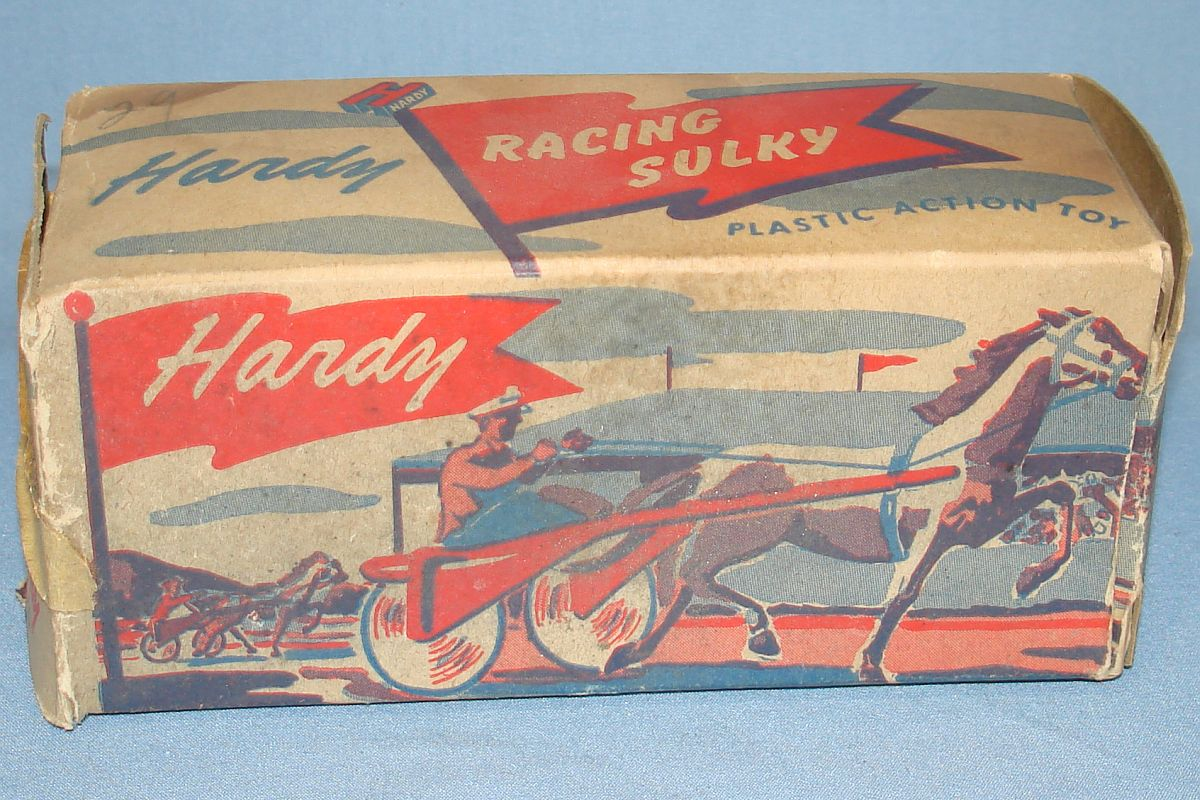 Vintage Hardy Racing Sulky Plastic Action Toy Cardboard Box #20