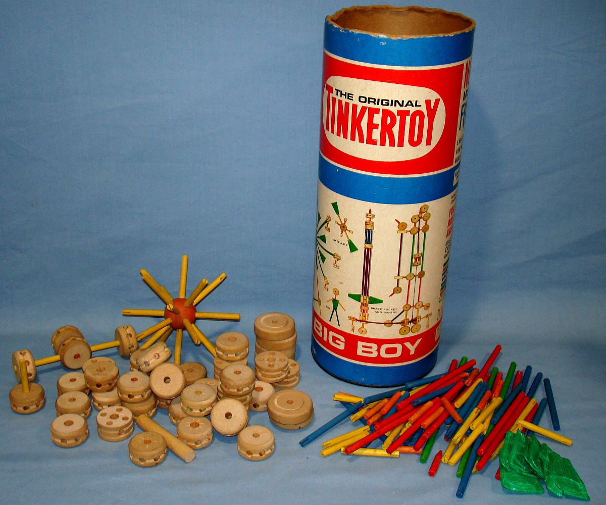 Tinker Toys For Boys : Vintage spalding big boy original tinkertoy set no