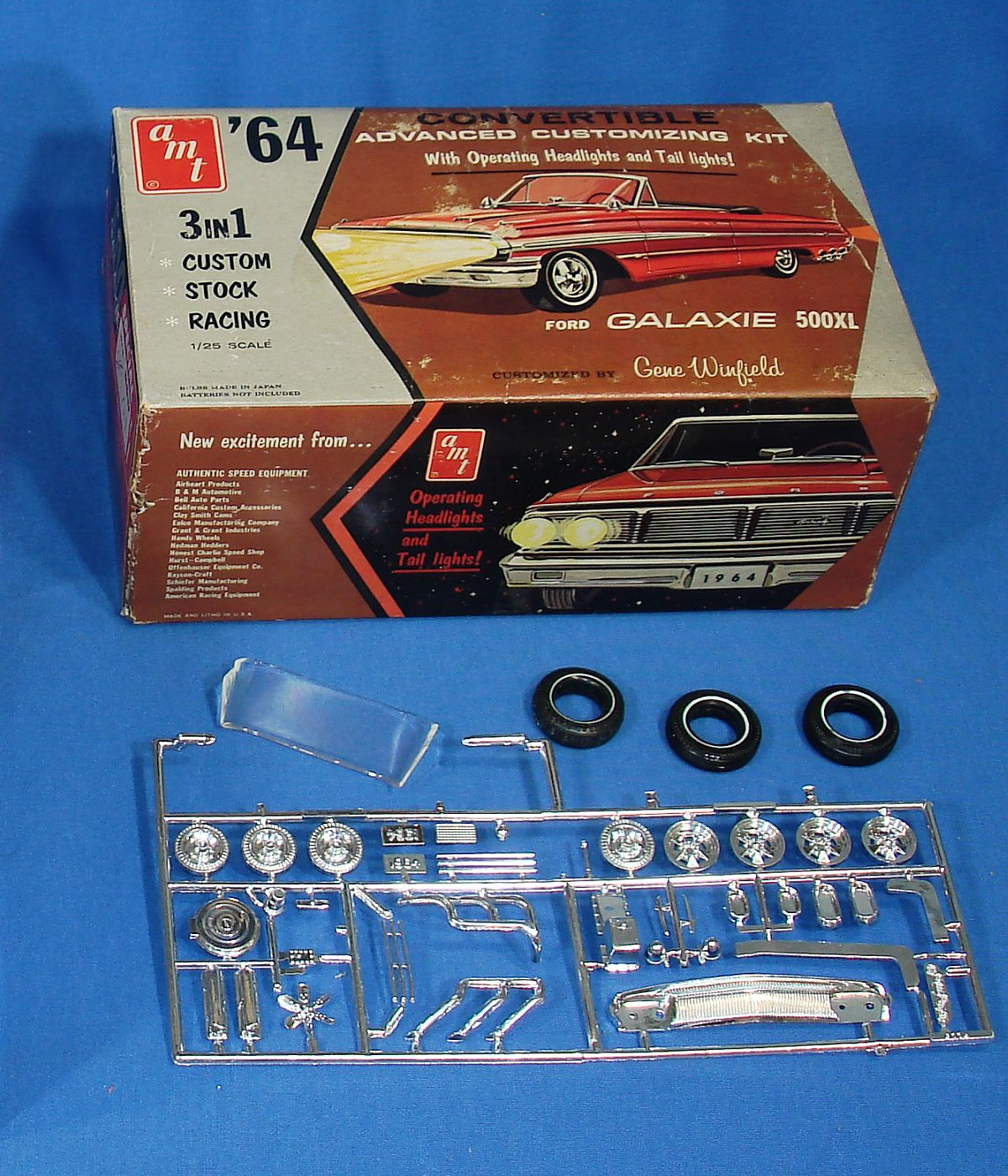 Vintage AMT Plastic Model Kit 1964 Galaxie 500XL Convertible Empty Box & Chrome
