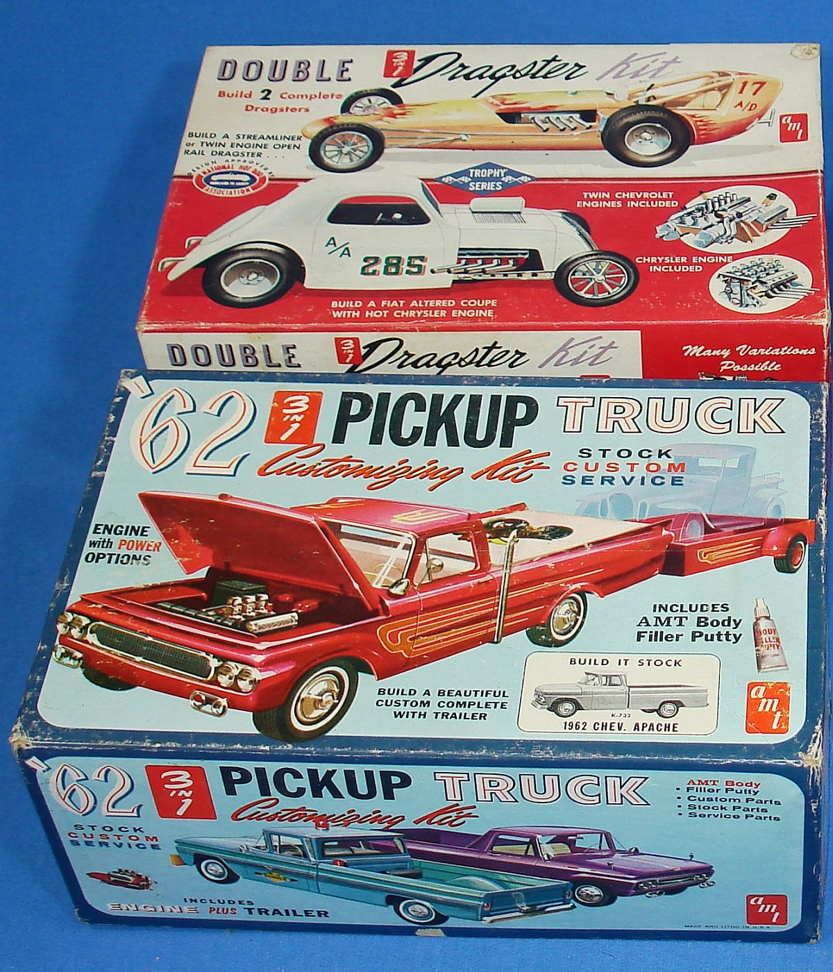 Vintage AMT Plastic Model Kit Empty Boxes Double Dragster 1962 Chevy Apache Pickup Truck