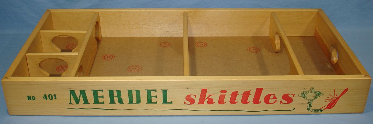 Vintage 1950`s Merdel Skittles Exciting Spin Top Wooden Bowling Game
