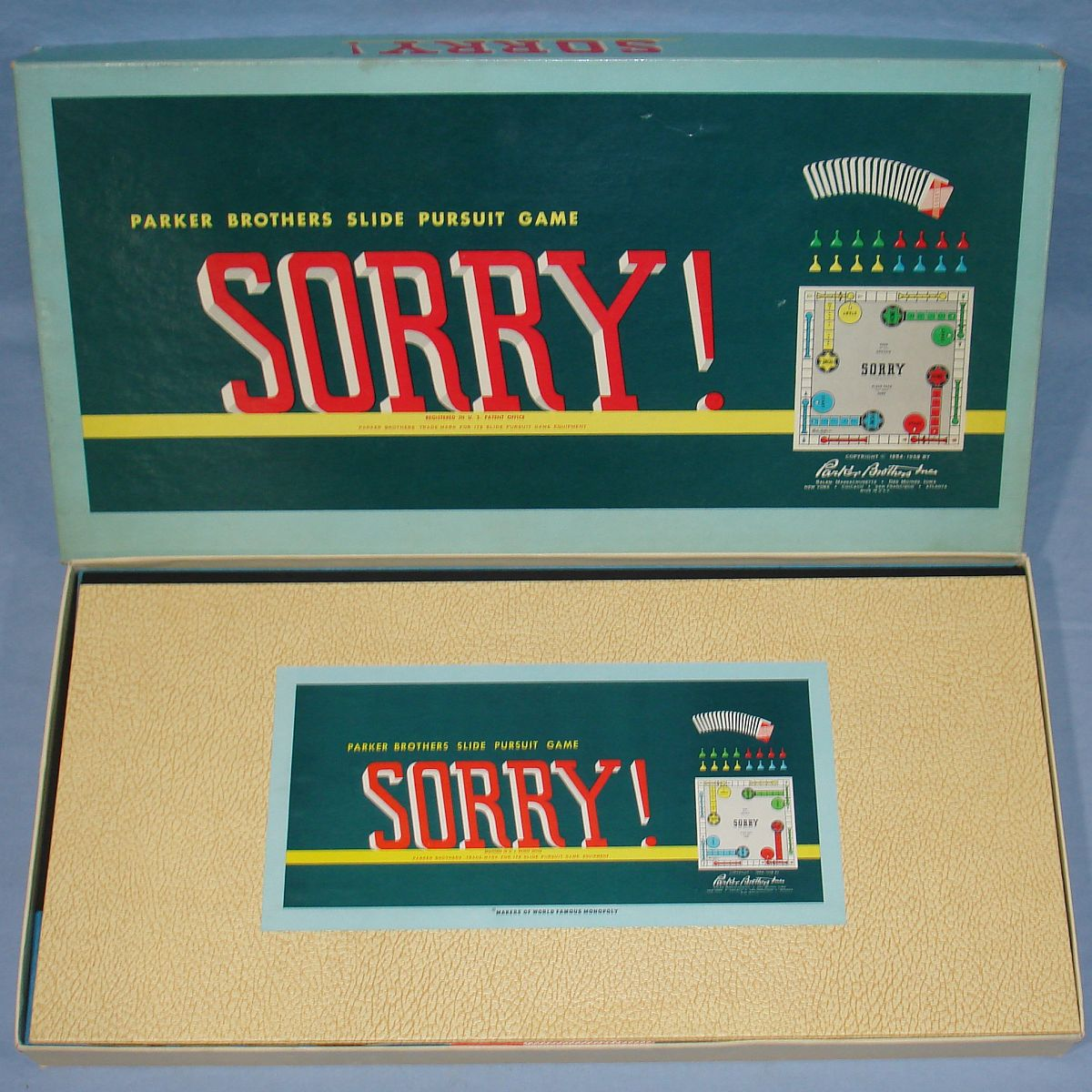 Parker Brothers Sorry Slide Pursuit Board Game Box Lid
