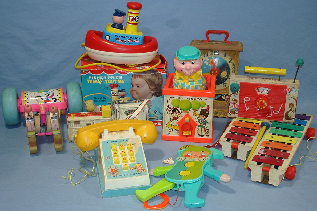 Classic Fisher Price Toys : Vintage fisher price toys lot tuggy tooter jolly jumping