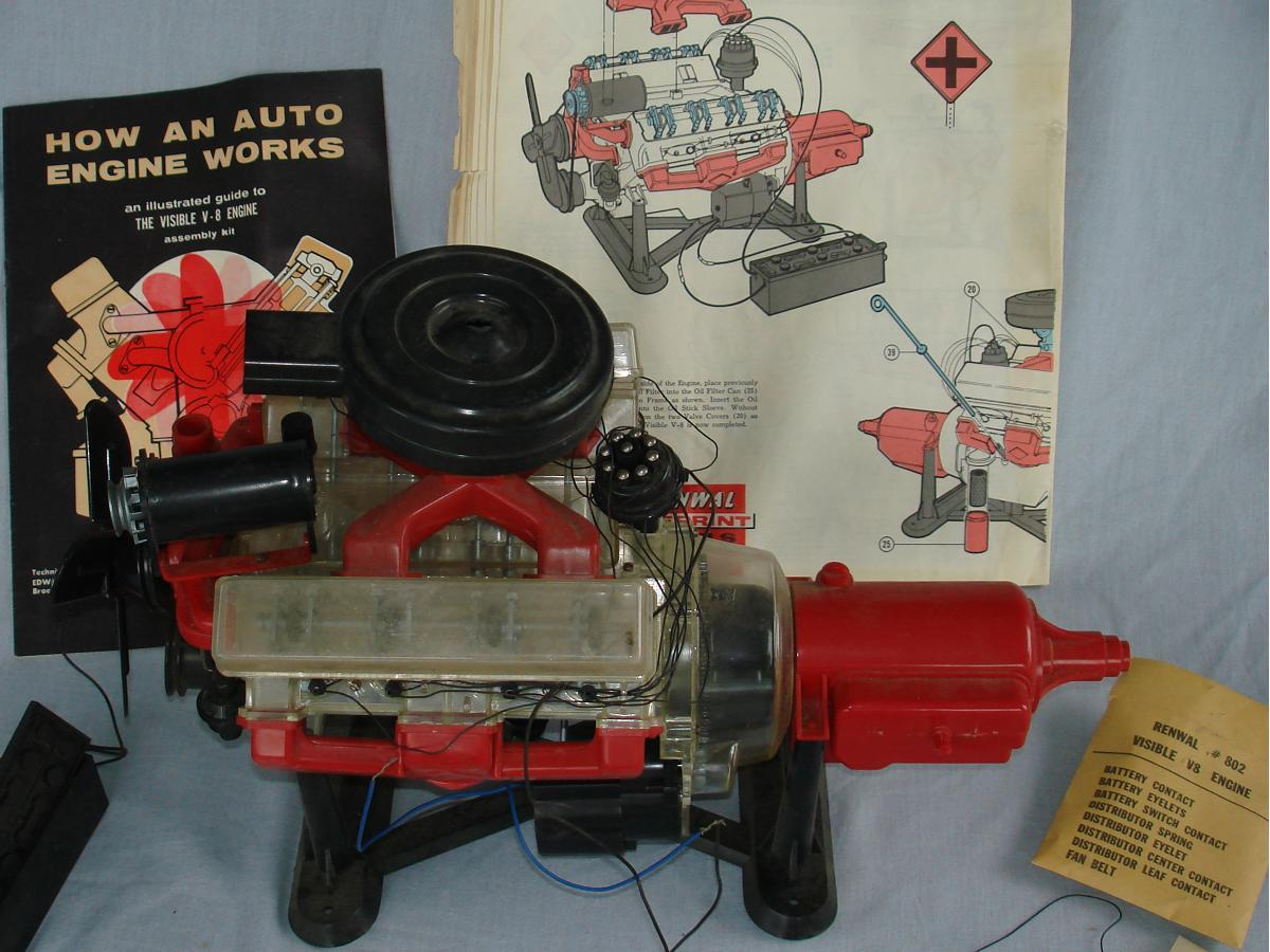 Renwal Visible V8 Automobile Engine Model Kit #802 Instructions