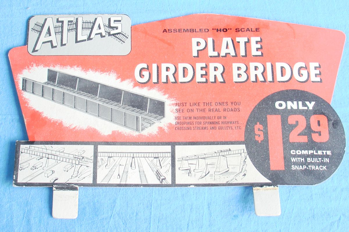 Atlas HO Gauge Trains Model Railroad Plate Girder Bridge Store Counter Display Sign