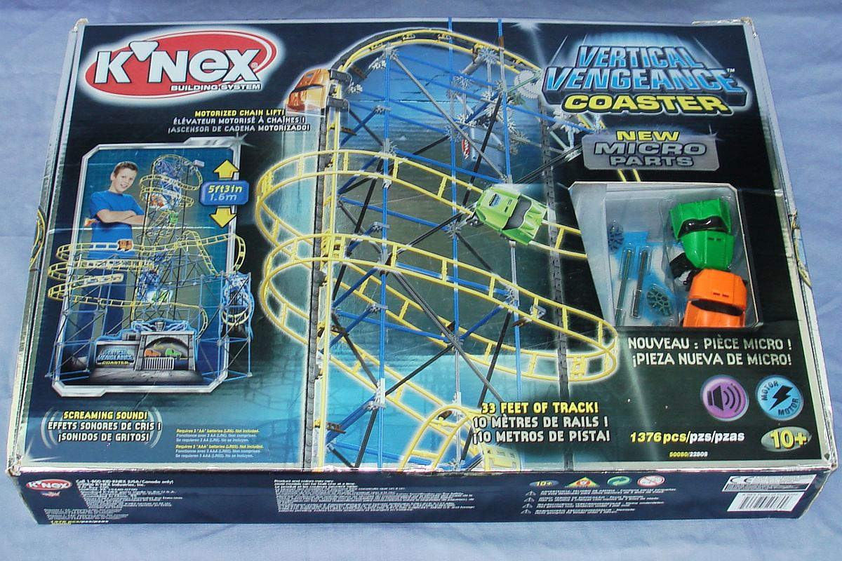 Knex Building System Vertical Vengeance Roller Coaster 1376 Pieces Box