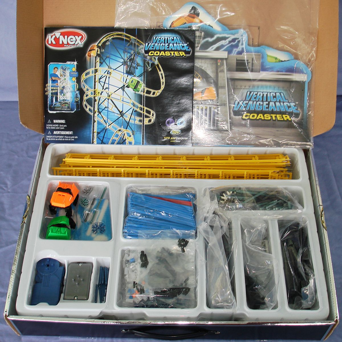 Knex Building System Vertical Vengeance Roller Coaster 1376 Pieces Box Contents