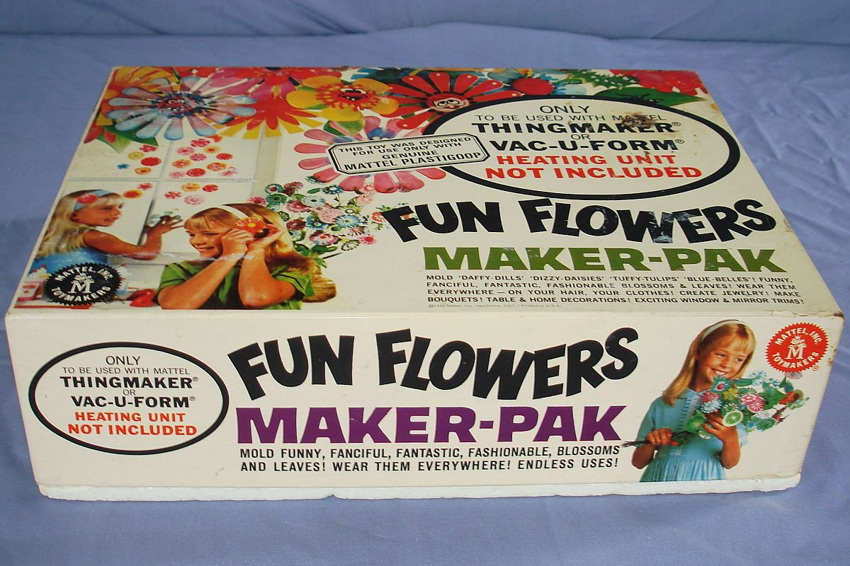 1966 Vintage Mattel Thingmaker Toy Fun Flowers Maker-Pak Box Lid #4521