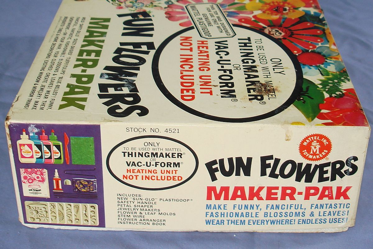 1966 Vintage Mattel Thingmaker Toy Fun Flowers Maker-Pak Box Lid Panel #4521