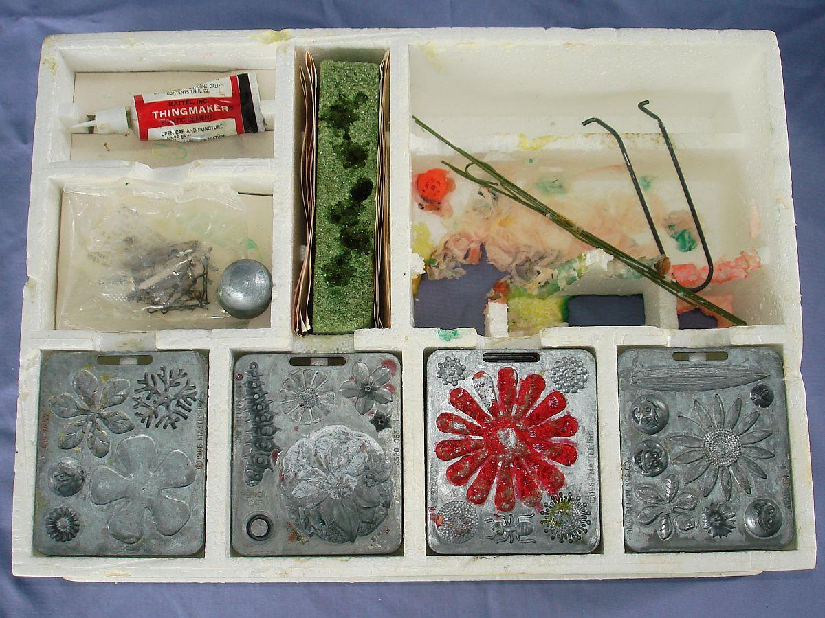 1966 Vintage Mattel Thingmaker Toy Fun Flowers Maker-Pak Box Contents