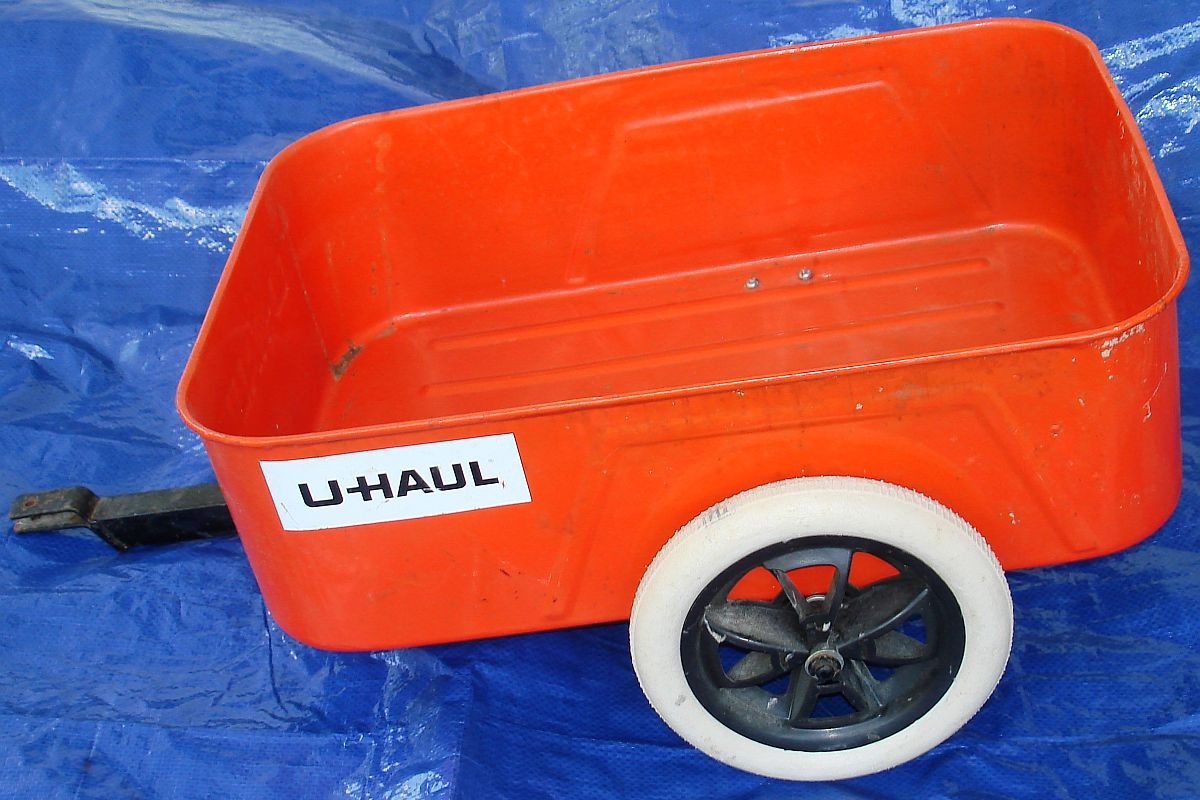Vintage Uhaul Orange Pressed Steel Pedal Car Trailer