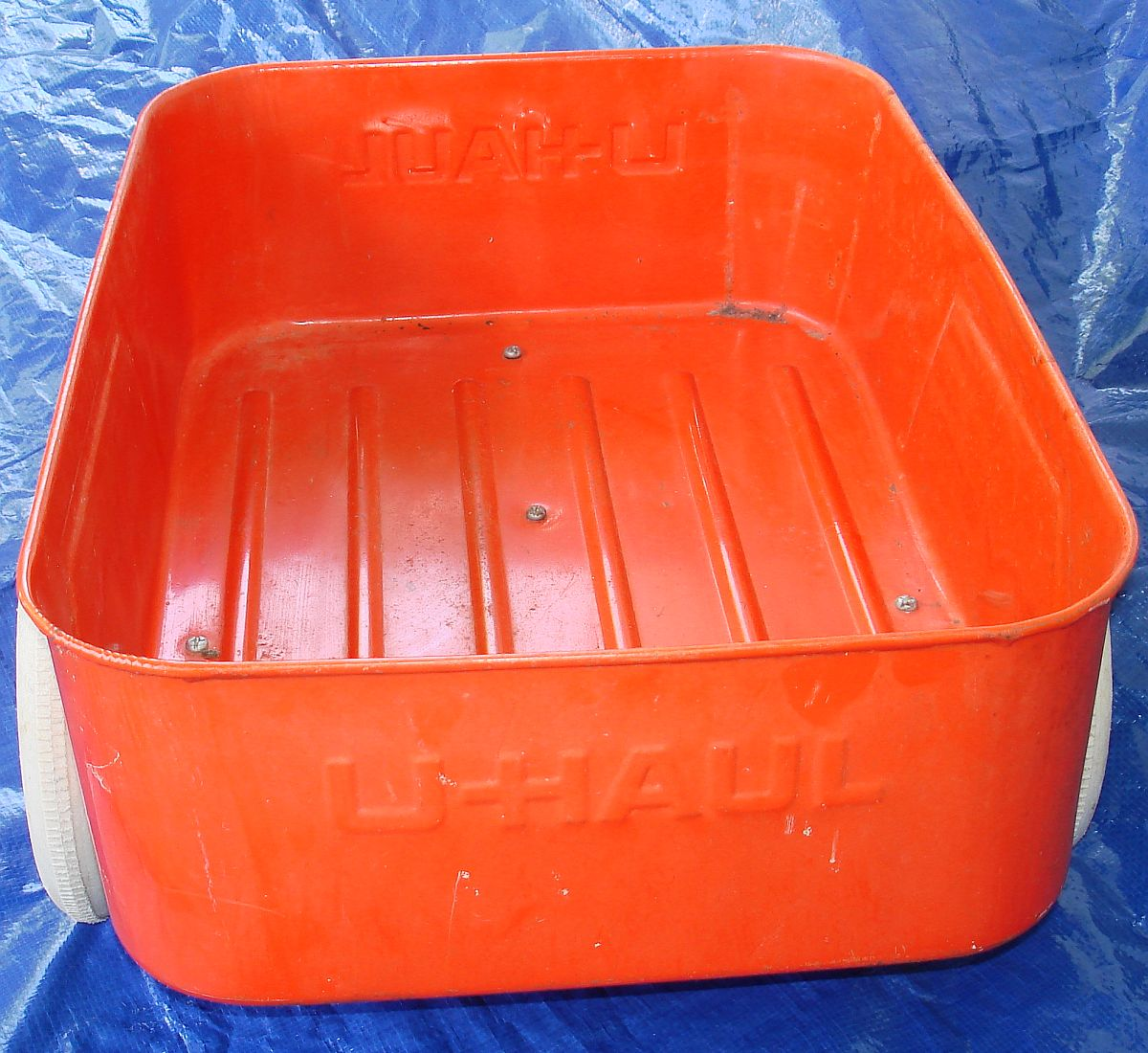 Vintage Uhaul Orange Pressed Steel Pedal Car Trailer Stamped Logo