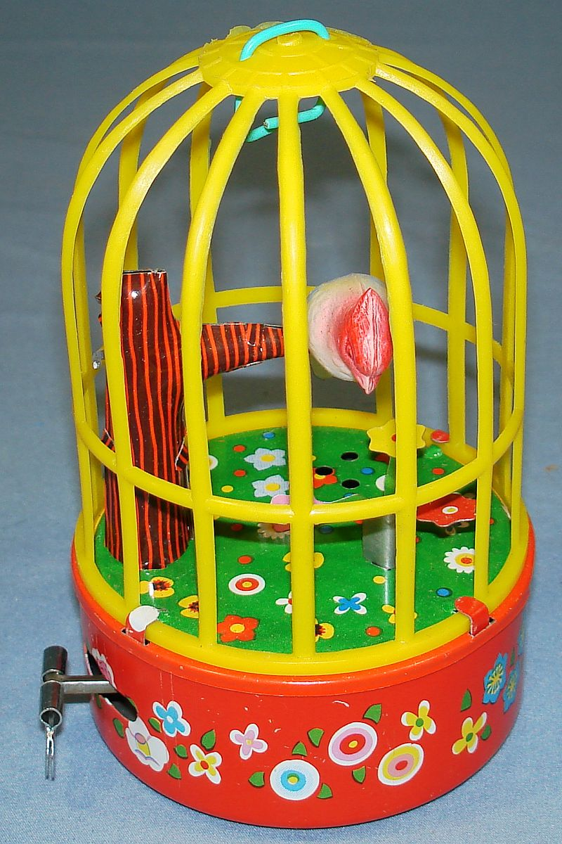 Vintage Yone Made In Japan Mechanical Wind Up Singing Bird In Cage