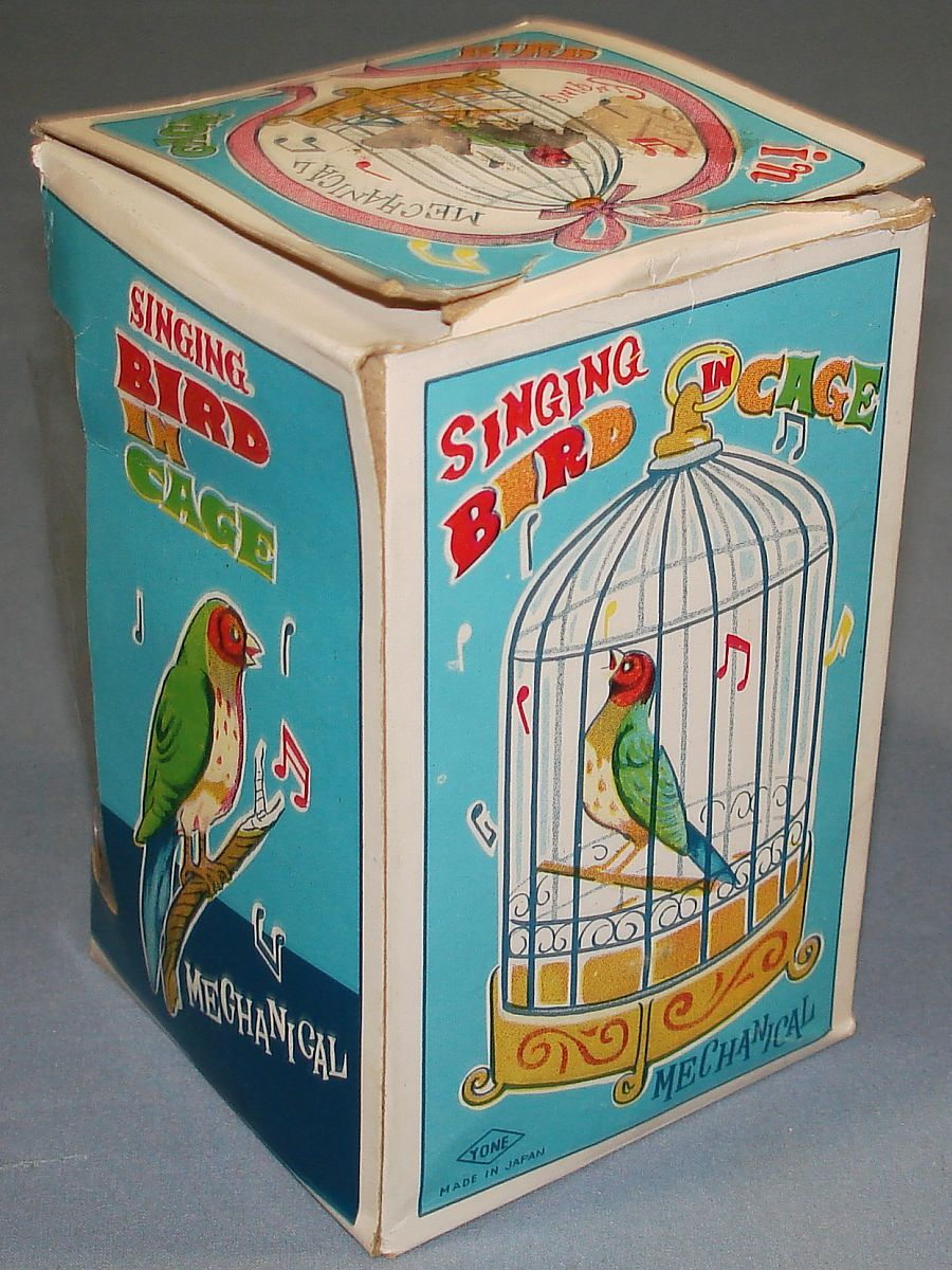 Vintage Yone Made In Japan Mechanical Wind Up Singing Bird In Cage Box