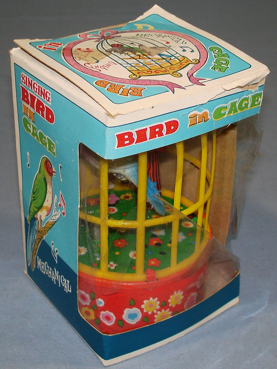 Vintage Yone Made In Japan Mechanical Wind Up Singing Bird In Cage Box Celophane