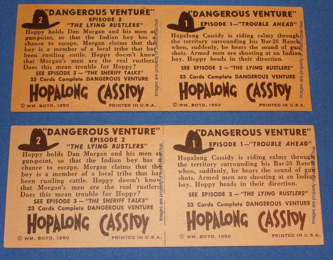 Hopalong Cassidy Western Gum Card Panels 01 02 Reverse